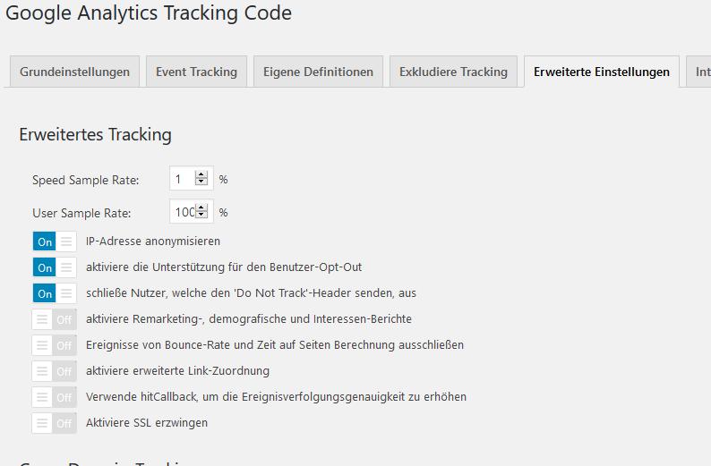 Google Analytics Tracking Code  - IP Anonymisierung einstellen